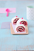 Raspberry biscuit roll style Angel Cake