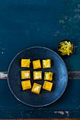 Cubes of foie gras and saffron jelly