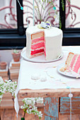 Pink and white layer cake