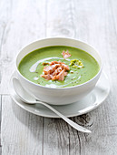 Cream of lettuce soup with flaked salmon