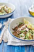 Quinoa with cucumber, lemons and sardines