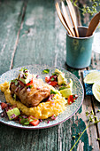 Small chicken roast, creamy avocado polenta