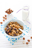 Small spelt flake, hazelnut and chocolate chip crunchy granola