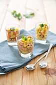 Salmon-pineapple tartare with black sesame seeds