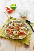 Chicken, coconut milk and sesame oil wok