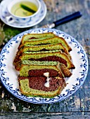 Green tea and cocoa marble cake with a white chocolate center