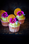 Honey,Orange And Flower Cupcakes