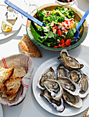 Plate Of Oysters And A Mixed Salad On A Table