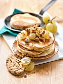 Belvita Biscuit Pancakes,Maple Syrup And White Grapes