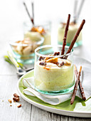 Vanilla Mousse With Crushed Caramelized Almonds And Mikado Biscuits