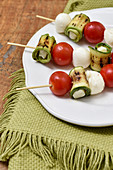 Vegetable And Mozzarella Ball Brochette Appetizers