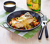 Cod Fillet With White Wine Sauce,Roasted Carrots And Celery Branches