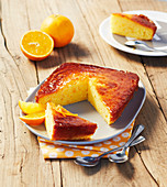 Orange cake, sliced