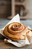 A cinnamon bun