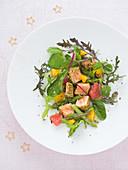 Mesclun Salad With Diced Salmon Tataki In Sesame Crust With Wasabi,Orange And Grapefruit