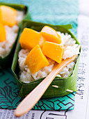 Sticky rice with coconut milk and mango cooked in a banana leaf