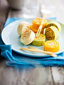 Ricotta-tomato, smoked salmon-fromage frais-dill and ham-fruit mini buckwheat tortilla wraps