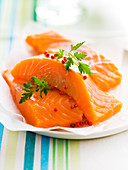 Raw skinned salmon fillets