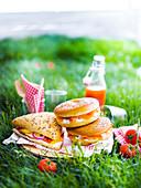 Bagel mit Frischkäse und Lachs und Körnerbrötchen mit Huhn, Käse und eingelegtem Gemüse zum Picknick im Gras