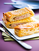 Meat puff pastry pie