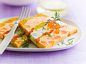 Slices of southern vegetable and fish terrine