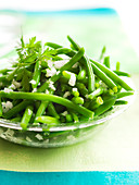 Extra thin green beans with shallots