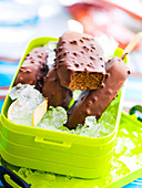 Chocolate and crushed cocoa bean ice cream bars