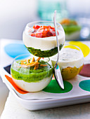 Creamy and vegetable coulis Verrine trio