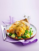 Roasted guinea-fowl with pan-fried vegetables