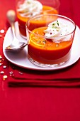 Tomato, red pepper and cucumber gazpacho with olive oil