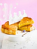Marzipan Galette des rois, crown and lucky charm