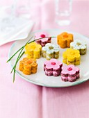 Assortment of flower-shaped appetizers