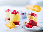 Panna cotta with red berry coulis, crisp tuiles