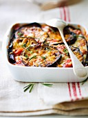 Eggplant and tomato gratin with herbs