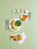 Menu with savoury cakes, white fish-spinach and Tarte Tatin