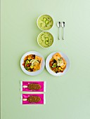 Summer menu with cucumber gazpacho, salmon-ratatouille and ice cream bars