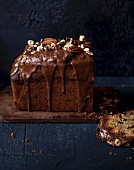 Fruit cake with praline and milk chocolate topping