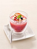 Summer fruit compote with grilled almonds