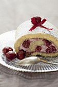 Griotte cherry and cherry cream rolled log cake