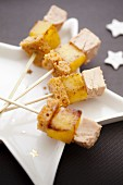 Foie gras, roasted apple and gingerbread mini brochettes