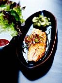 Korean-style trout glazed with soya sauce