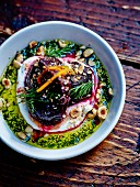 Beetroot, fromage frais mousse, olive oil with hazelnuts and dill