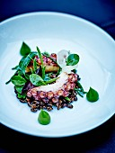 Grilled octopus, squid ink wheat, gratin Dauphinois, salad and pureed corn lettuce