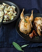 Roasted quail with sage and smoked bacon, mashed potatoes with chestnuts