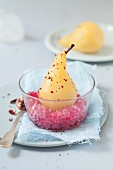 Poached pears with pink pepper and pomegranate granita