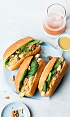 Chicken, honey, mustard, walnuts and baby spinach sandwiches