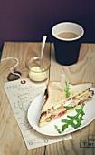 Chicken-bacon club sandwich