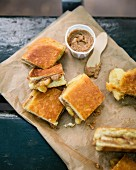Praline hazelnut, banana and lime sweet brioche sandwich
