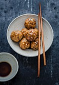 Chicken and sesame meatballs, teriyaki sauce