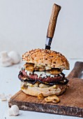 Beef, aubergine, Roquefort and button mushroom hamburger
